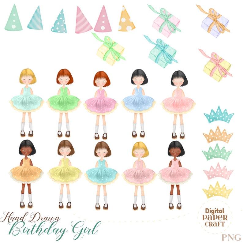 Pretty Girl Clipart Digital Clipart Girl Clipart,Watercolor Clipart Original Girl Clipart Party Clipart Watercolor Birthday Clipart