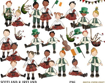 Scotland Clipart, Irish Clipart, original, Hand Drawn Graphics, African American Clipart, Hogmanay Clipart, Planner Clipart,  Children
