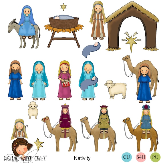 Christmas Christian Clipart.Nativity Clipart Christmas Clipart Christian Clipart Instant Download Christian Scrapbook Nativity
