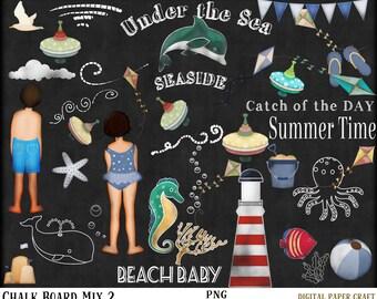 Seaside chalk art, Black board clipart, Kite Clipart, Card making , Assorted Chalk clipart,  Invitation, Mix 2