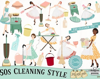 Retro Cleaning Clipart, Chores Clipart, Housework Clipart, Instant Download, 50s cleaning,  House Rules, Planner Clipart, Cleaning, Retro