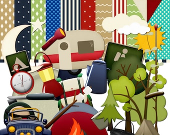 Camping Scrapbook, Travel scrapbook, Outdoors Scrapbook, Nature Scrapbook, Vacation scrapbook, Instant Download