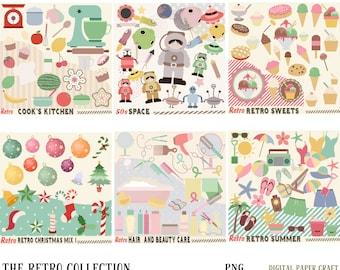 Retro summer, Retro Kitchen, Retro Christmas x 2 , Retro Space, Retro Hair, Retro clipart, 50s Look, png, instant download