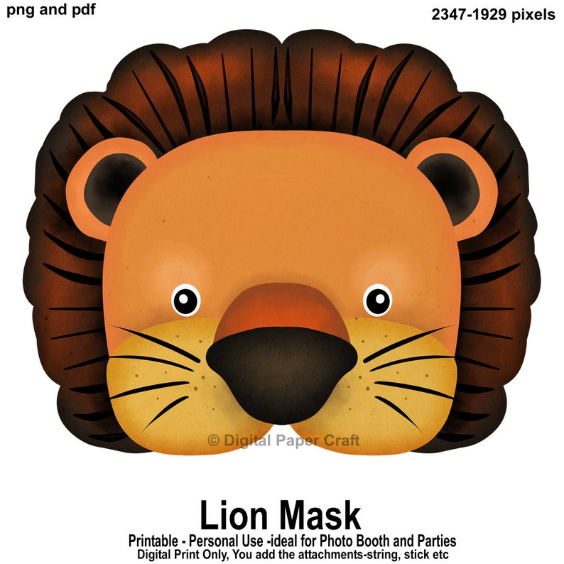 photograph about Printable Lion Masks named Printable Lion Mask for Photograph Booths and Functions, -Prompt Obtain