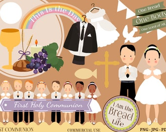 Communion Clipart, Communion Printables, Newsletter clipart, Instant download, Christian Clipart, first communion clipart