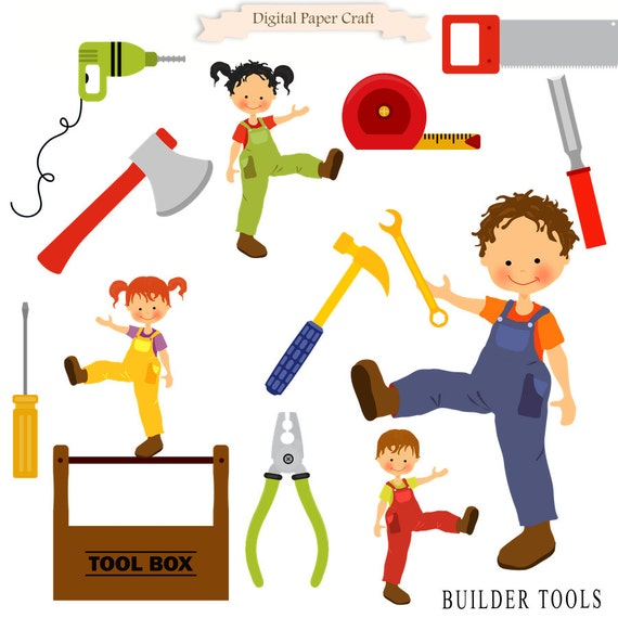 Building Tools Clipart Builder Clipart Workman Clipart Tool Etsy
