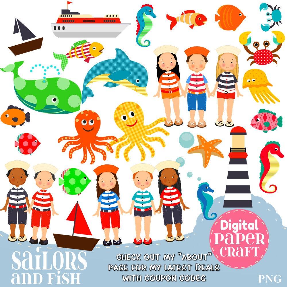 Seemann Clipart Kinder Clipart Fisch-Clipart Ocean Clipart   Etsy