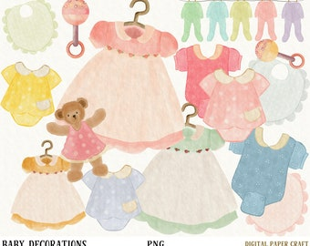 Baby Shower Clipart, Baby Boy Clipart Baby Girl Clipart Newborn Clipart, Watercolor Clipart, Handpainted Clipart,  Clothes Clipart, original