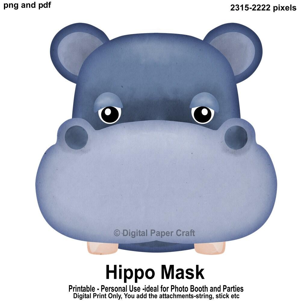Hippopotame Masque Hippopotame Imprimable Masque Etsy