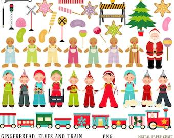 Gingerbread, elves, train, Christmas, sweets, tools, lollypops, elf, Santa,