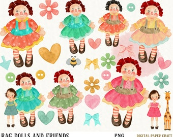 Rag Doll Clipart, Doll Clipart, Raggedy Doll Clipart, Vintage Doll Clipart, Prim Clipart,Watercolor Clipart, Watercolor toy