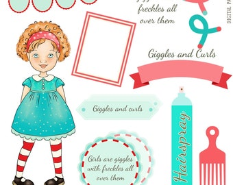 Girl with Curls Clipart, Beauty Essentials ,Curlers, Comb, Bunting, Frame and Tags - Instant Download, Hand drawn Girl-Lillyskites Girl 2