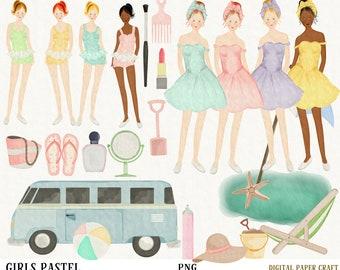 Watercolor Clipart, Girl Clipart, Retro Watercolor, Van Clipart, Watercolor Clipart, Digital Clipart, Original, Beach Girl, Retro,  Summer