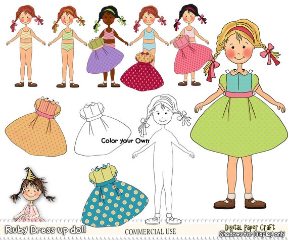 Paper doll Printable doll Cut Out Doll Printable Craft