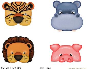 Tiger Mask, Pig mask, lion Mask, Hippo mask, Printable Mask, party mask, Instant download, pdf, png