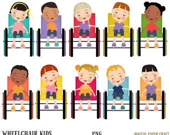 Wheelchair, Children, Clipart ,Boys, Girls, Wheelchair kids, Invitation, Party,  png,  Hand drawn, Journal, Sublimation, Multicultural