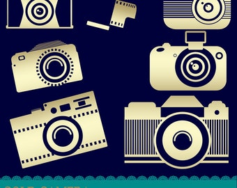 Gold Camera Clipart, Instant Download, Tag Clipart, Photo Clipart, assorted Camera, Gold Clipart, Digital File
