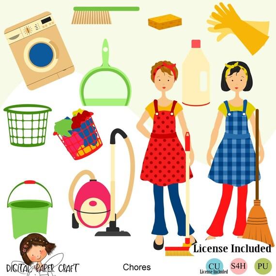 Hausarbeit Clipart, Reinigung Clipart, Hause Clipart, Maid Clipart, Instant  Download, reinigen ClipArt