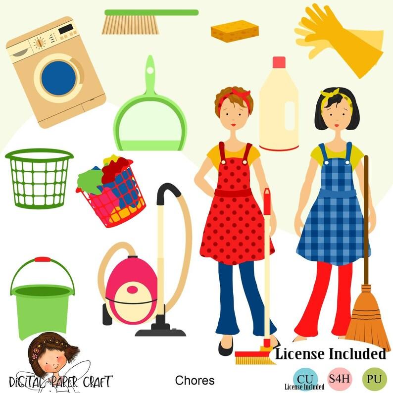 Hausarbeit Clipart Reinigung Clipart Hause Clipart Maid | Etsy