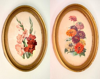3 antique oval floral prints and mirror made in italy metal frames /& 1940 s flower print picture italian art lithograph wall hanging