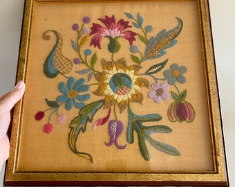 Vintage Floral Needlepoint Framed Wall Hanging