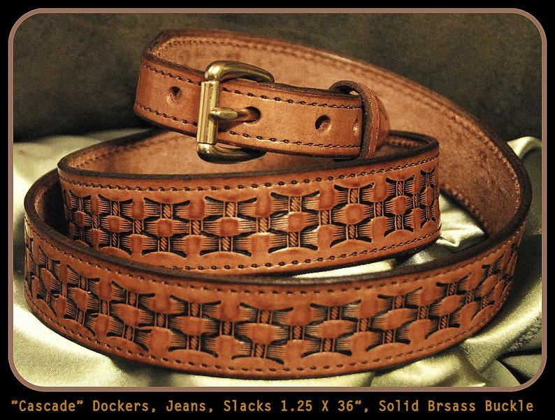Handmade Leather Belt For Dockers Jeans And Dress Light British Tan With Brown Top Stitch Comes Standard Width Of 1 25 Wide