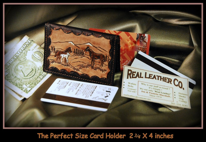 8bd85da35466 Horse, Card Wallet Case, Colt,Mare,Stallion,Slim wallet,Western ranch, Hand  crafted, Wild Horses,perfect size for credit and business cards.