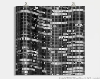 Lake Point Tower Print.  Architectural photography print black and white buildings Chicago decor wall art large format photo