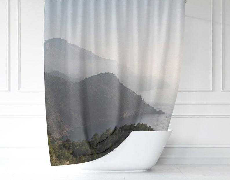 "72x72/""Mountain Lake Garssland Waterproof Fabric Bath Shower Curtain Hook Mat Set"