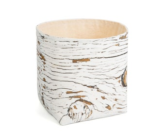 Planter - Crackled Wood. Textile succulent plant pot storage basket house warming gift storage bucket fabric bin indoor plant. CHR-CRK