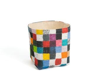 Planter - Checkers. Textile succulent plant pot storage basket house warming gift storage bucket fabric bin indoor plant. CHR-CHK