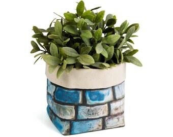 Planter - Cobblestones. Textile succulent plant pot storage basket house warming gift storage bucket fabric bin indoor plant. CHR-CBL