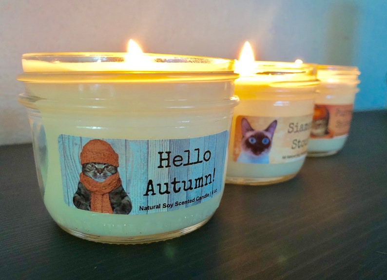 Hello Autumn Natural Soy Wax Scented Candle with Wood Wick image 0