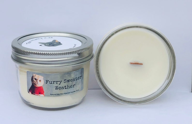 Furry Sweater Weather Natural Soy Wax Scented Cat Candle with image 0
