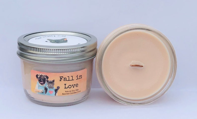 Fall in Love Natural Soy Wax Scented Candle with Wood Wick image 0