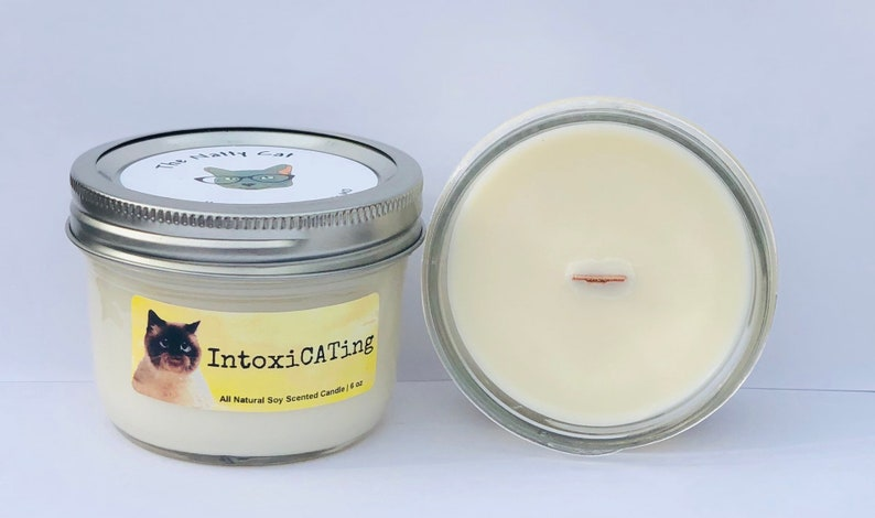 IntoxiCATing Natural Soy Wax Scented Cat Candle with Wood Wick image 0
