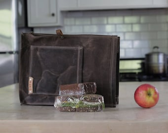 Waxed Canvas Lunchbag, Waxed Canvas Bag, Lunch Sack, Lunchbox
