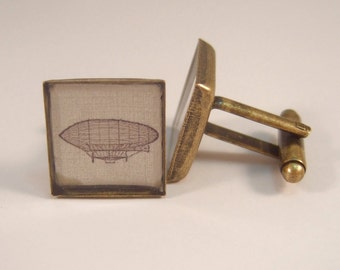 Antique Brass Cufflinks Victorian Steampunk Dirigible MADE TO ORDER