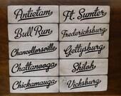 Vintage Look ENGRAVED Civil War Hanging Shelf Sitters Antietam Bull Run Chancellorsville Chattanooga Chickamauga Primitive Wood Signs