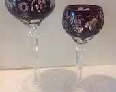 Nachtmann Bleikristall Ruby Red Lead Crystal Red and White Wine Glass PAIR, Cut to Clear in Excellent Condition