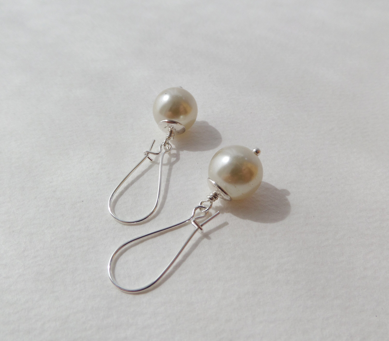 b2f9cca58d563 Large Ivory Pearl Silver Kidney Earrings, Long Kidney Wires, Classic Dangle  Pearl Earrings