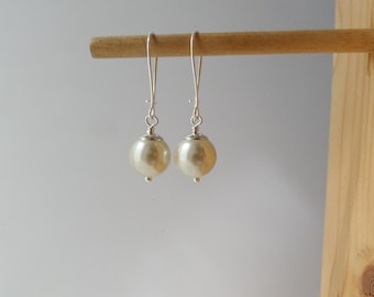 Large Pearl Earrings, Statement Pearls, Ivory/Cream Glass Pearl - Silver dangle drop earrings - 6-12mm Pearls