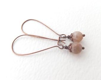 Semi precious Sunstone Beige Earrings, Neutral Antique Copper Kidney Wire Earrings, Pink-Beige Stone Light Brown Drops Soft Brown Earrings