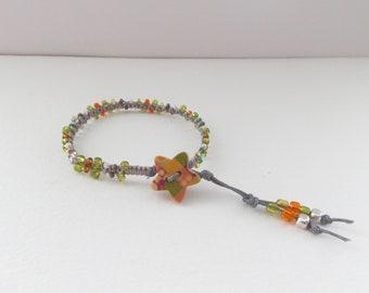 Grey Bracelet, Lime Orange, Beaded Macrame, Medium Cord Bracelet, Bracelets with Stars, Casual Friendship, Clasp Bracelet, BFF gift