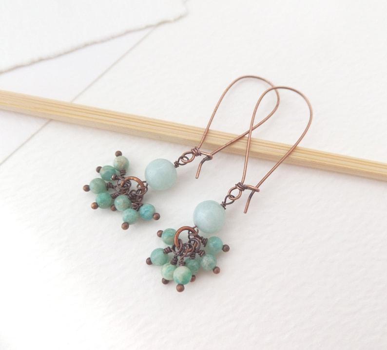 Amazonite Adventurine Long Copper Earrings Semi Precious Stone Bead Cluster Antique Copper Large Kidney Wires