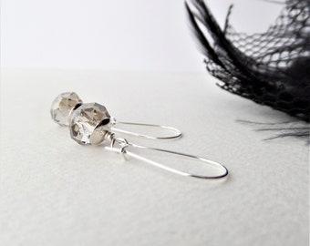 Grey Crystal Earrings, Long Kidney Wire Earrings, Silver Drops, Black Diamond Crystal Chic Dangle Earrings, Gift under 15