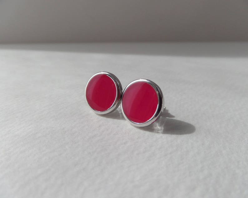 10mm Round Rhodium Plated Silver Studs Chic Glassy Shiny Post Earrings Hot Pink or Blackcurrant Deep Purple None Tarnish Modern