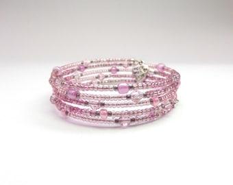 Girl's Bracelet, Pink Crystal beaded Wire Wrap Small Bangle - pre-teens bangle
