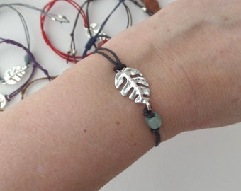 Silver Tropical Leaf Bracelet, Cotton Cord Casual Knotted Adjustable Bracelet, 2nd anniversary gift, Colour choice