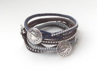 Bracelet, Greek Leather Bracelet - Silver Beaded - Metal Heart Button clasp - colour choice